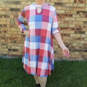 Checkered Print 3/4 Sleeve Dress with Pockets